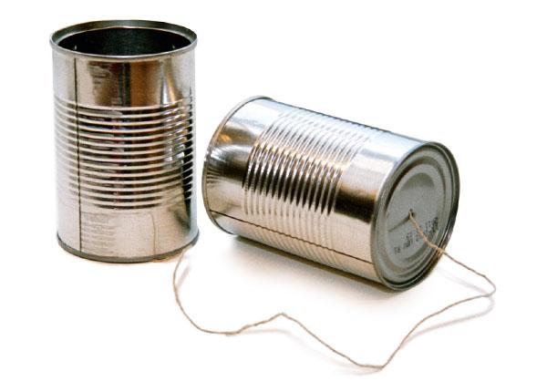 communicatie: draadje blikje, praten maar